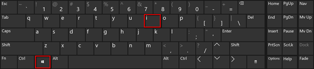 ShortcutWin Key  + I