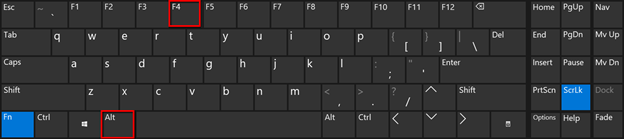 Shortcut ALT + F4