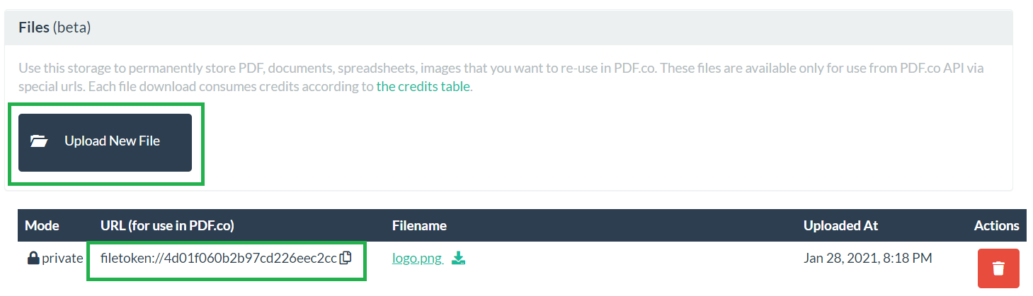 Upload And Storage Files In PDF.co Built-In File Storage