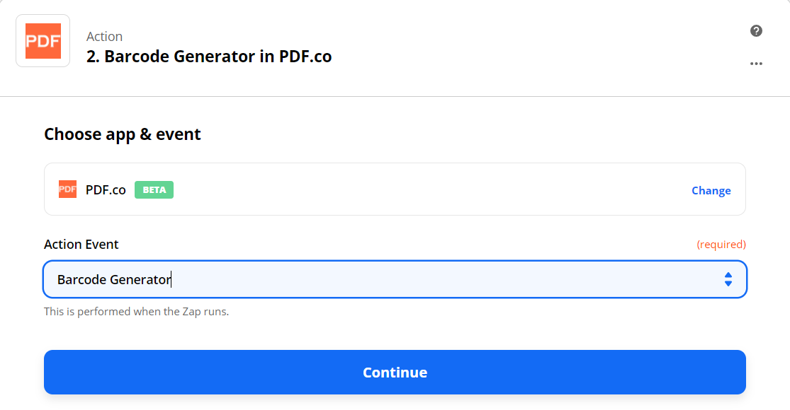 Barcode Generator In PDF.co As The Action Step