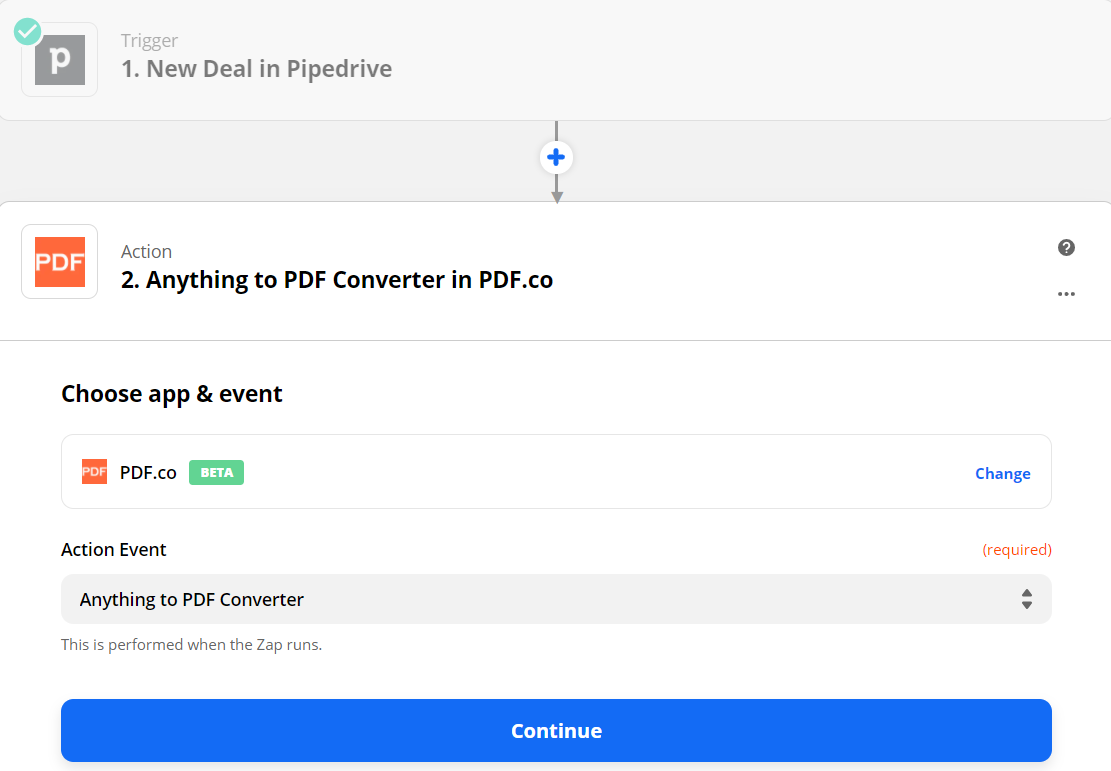 Anything To PDF Converter Action Step on Zapier