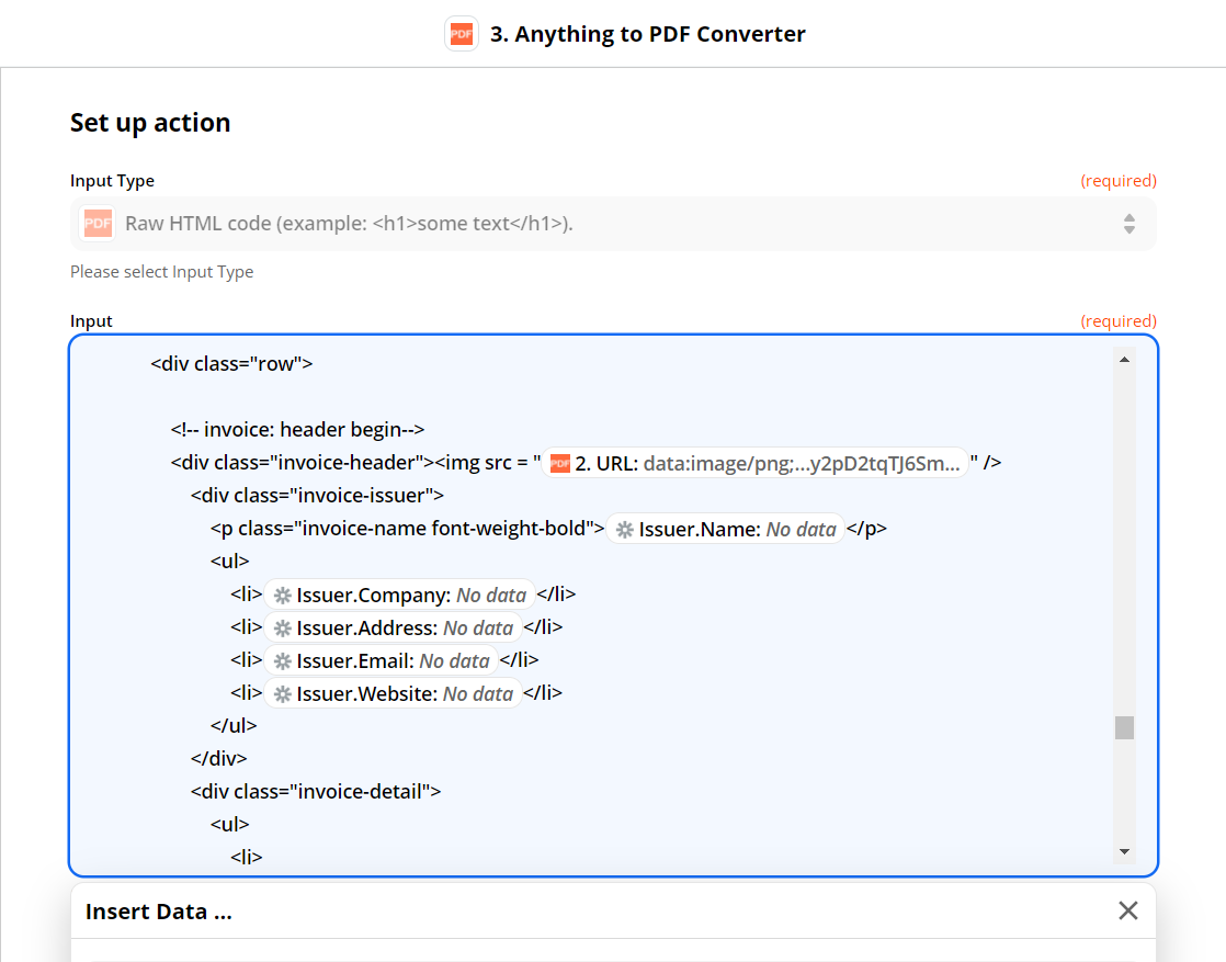 Configure Anything To PDF Converter With HTML Code And Barcode Data