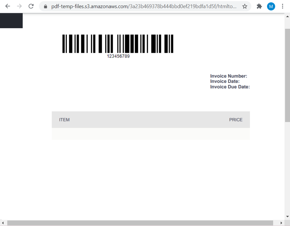 HTML Invoice Template Converter To PDF With Barcode