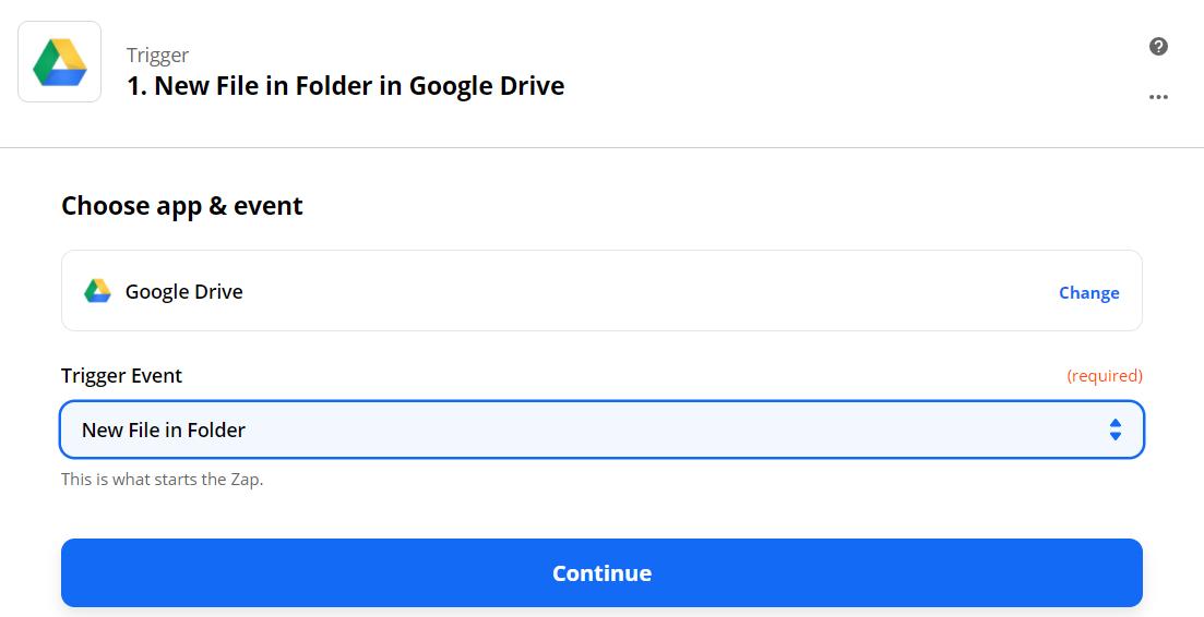 Setup Google Drive Trigger Step
