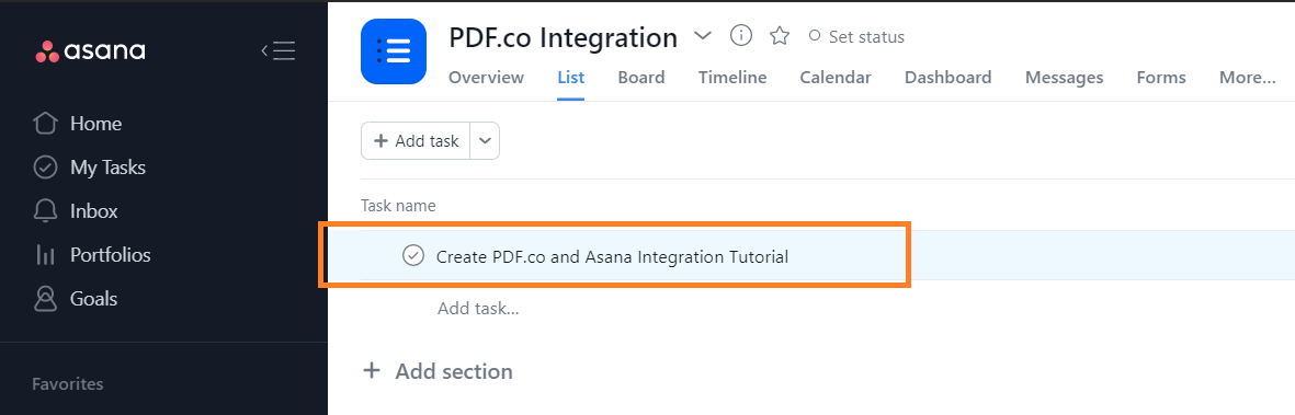 Asana Task To Fill Out to Fillable Form Using PDF.co