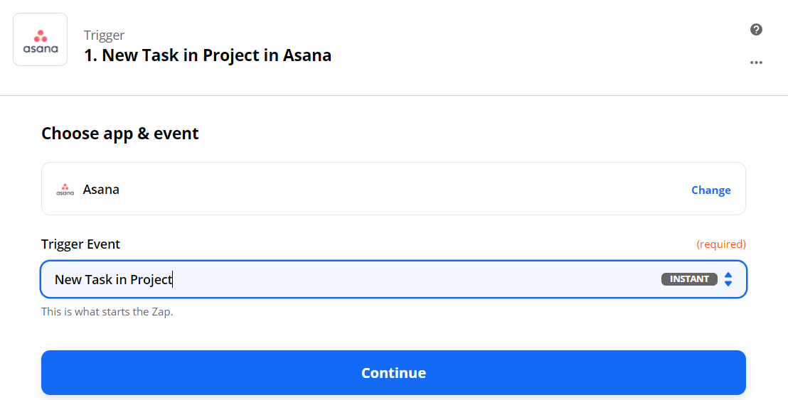New Task In Project Trigger Event