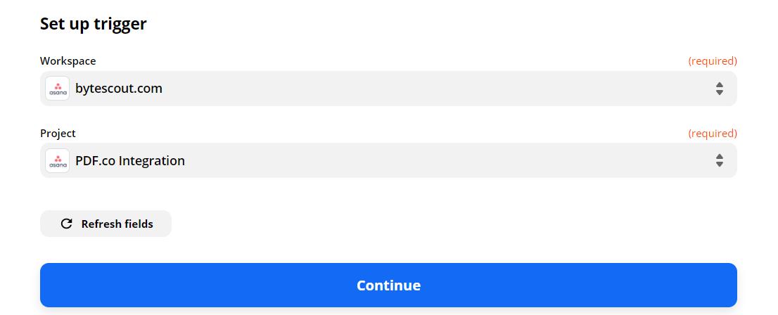 Configure Asana With Trigger Data