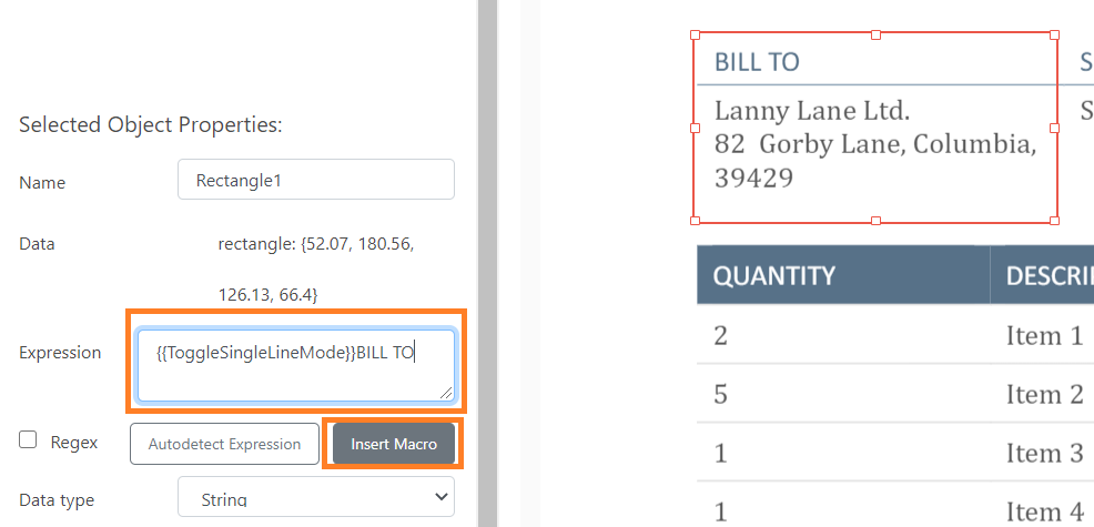 Enter BILL TO In The Expression Field And Insert Macro