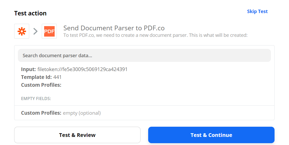 Send Document Parser Data To PDF.co