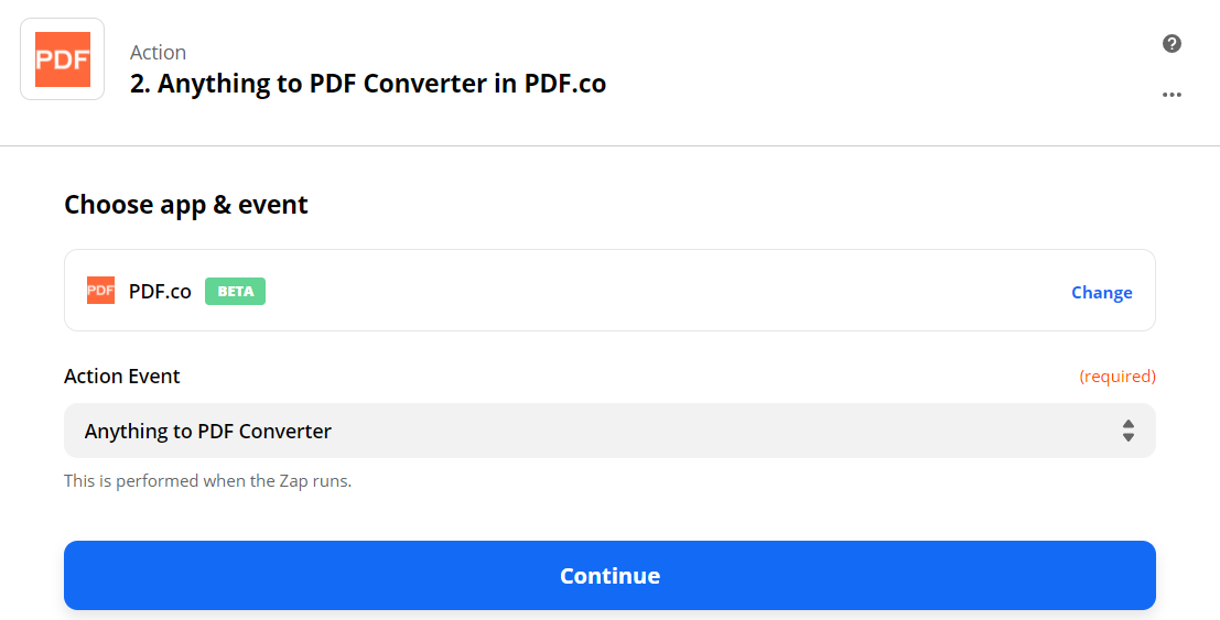 Set Anything To PDF Converter In PDF.co As The Action Step