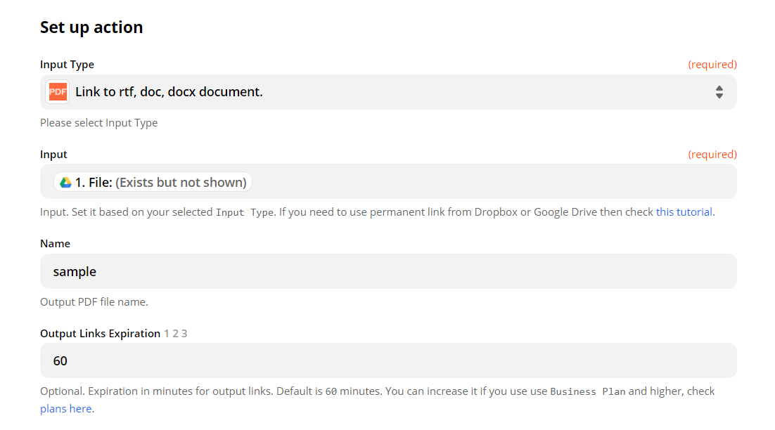 Configure Anything To PDF Converter With Google Drive Data