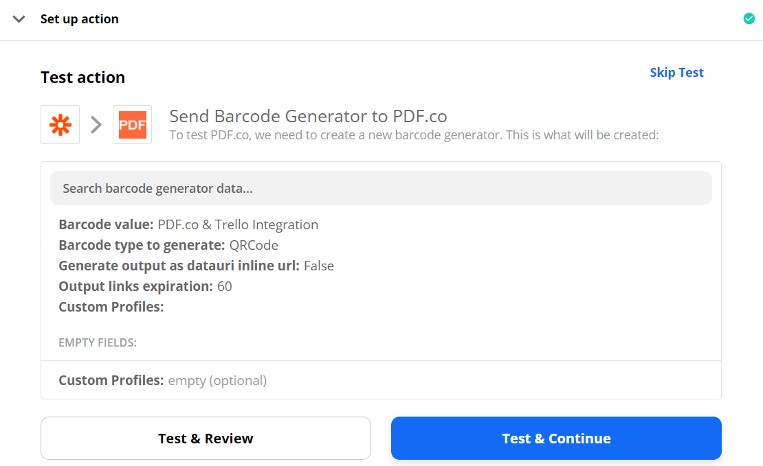 Send Barcode Generator Data To Test And Review