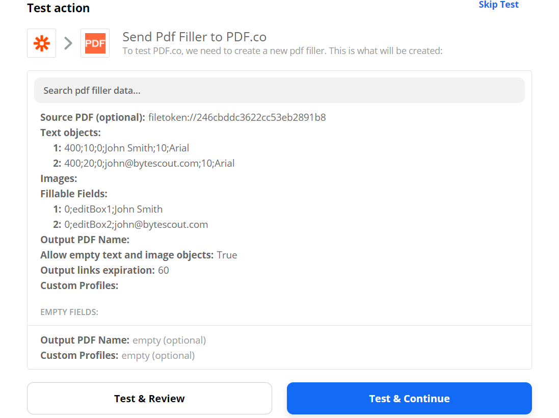 Send PDF Filler To PDF.co To Test And Review