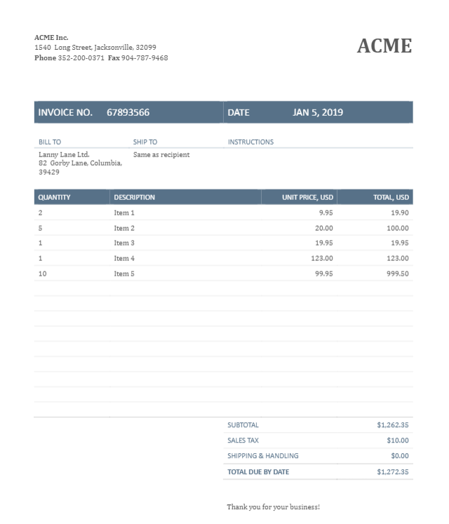 Sample Invoice To Create A Document Parser Template