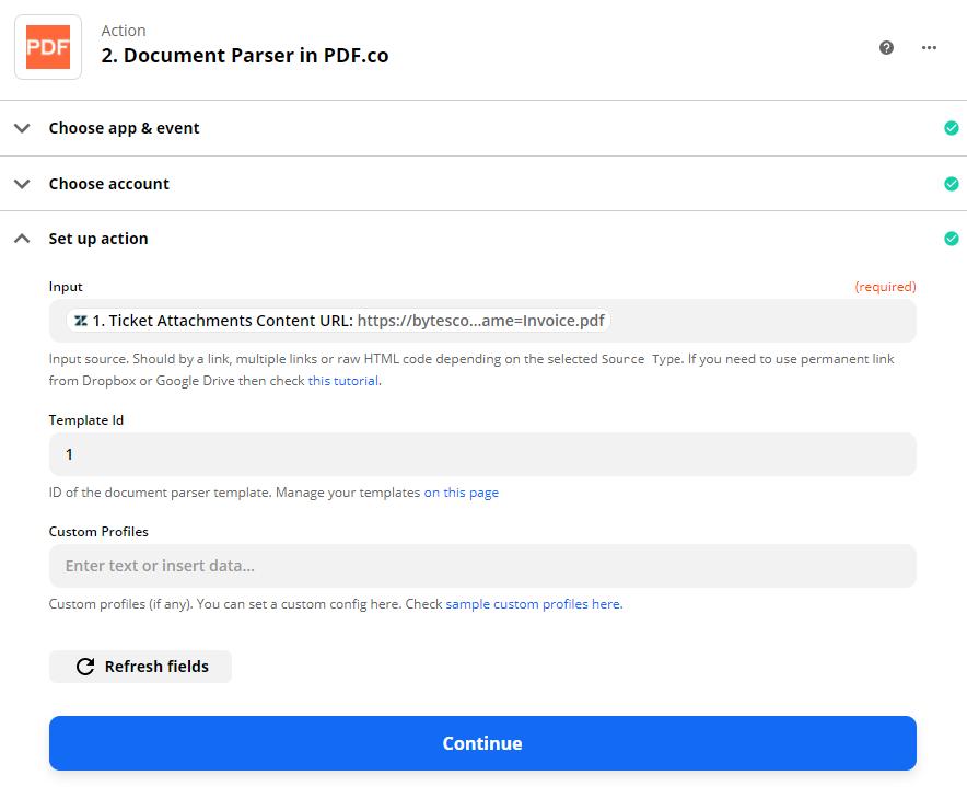 Configure Document Parser Action
