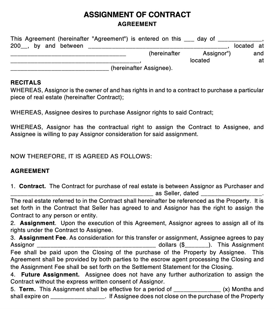 Real-Estate Assignment Contract Document