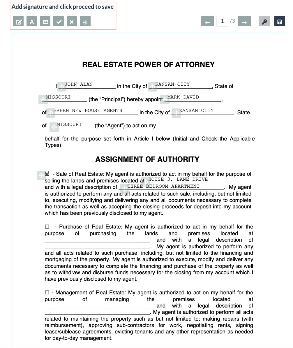 Signed Real Estate Power of Attorney