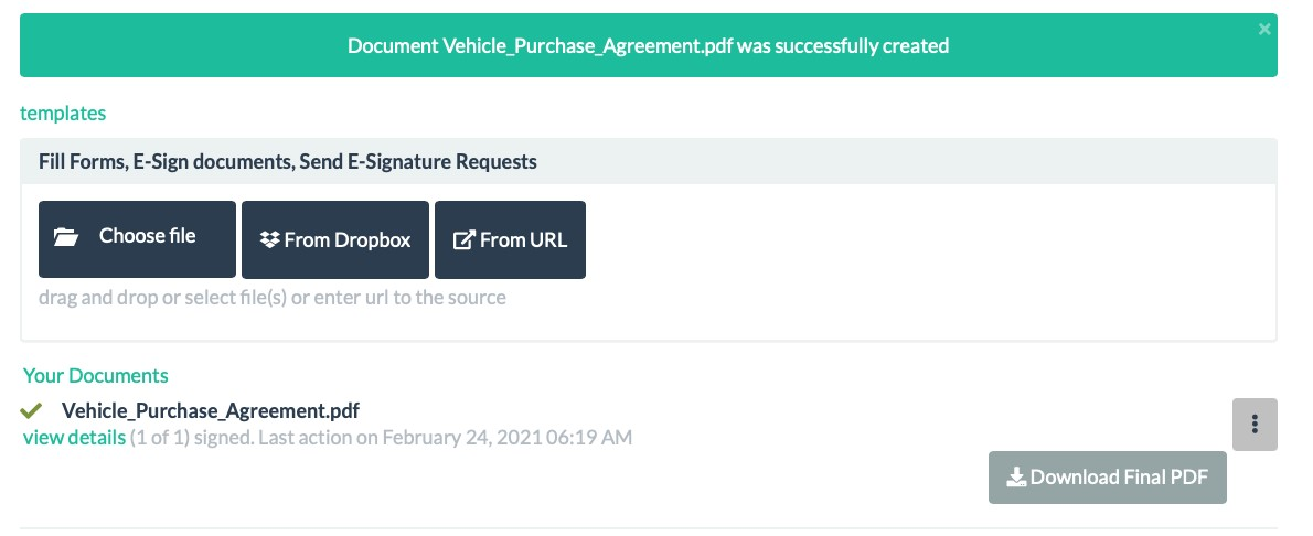 Vehicle Purchase Agreement Signature