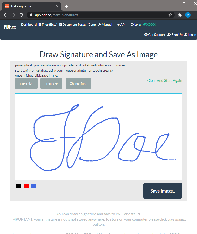 Draw Signature Using PDF.co Make Signature Tool