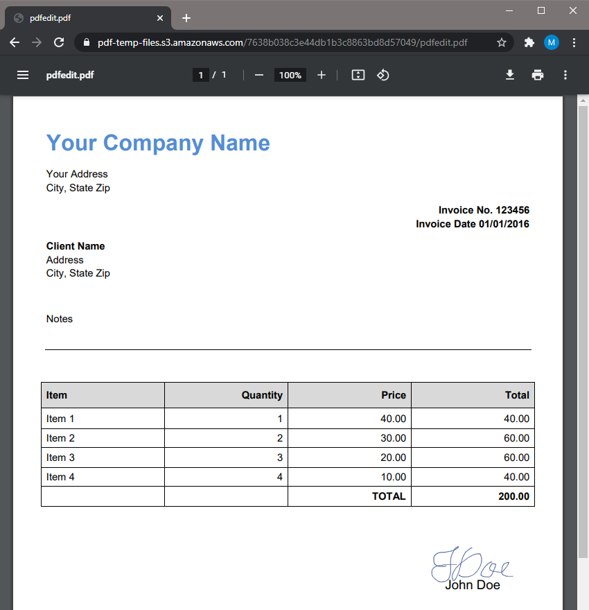 PDF Invoice With Signature Output