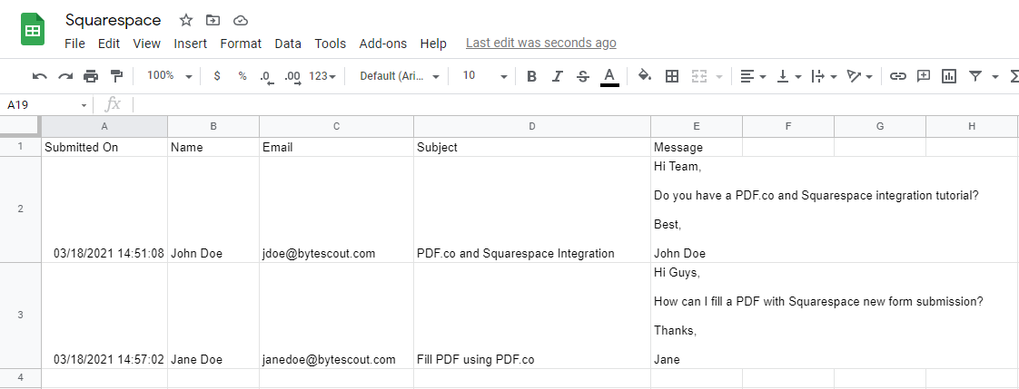 Squarespace Submission Google Spreadsheet