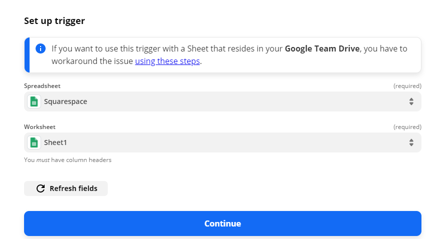 Setup Google Sheet Trigger