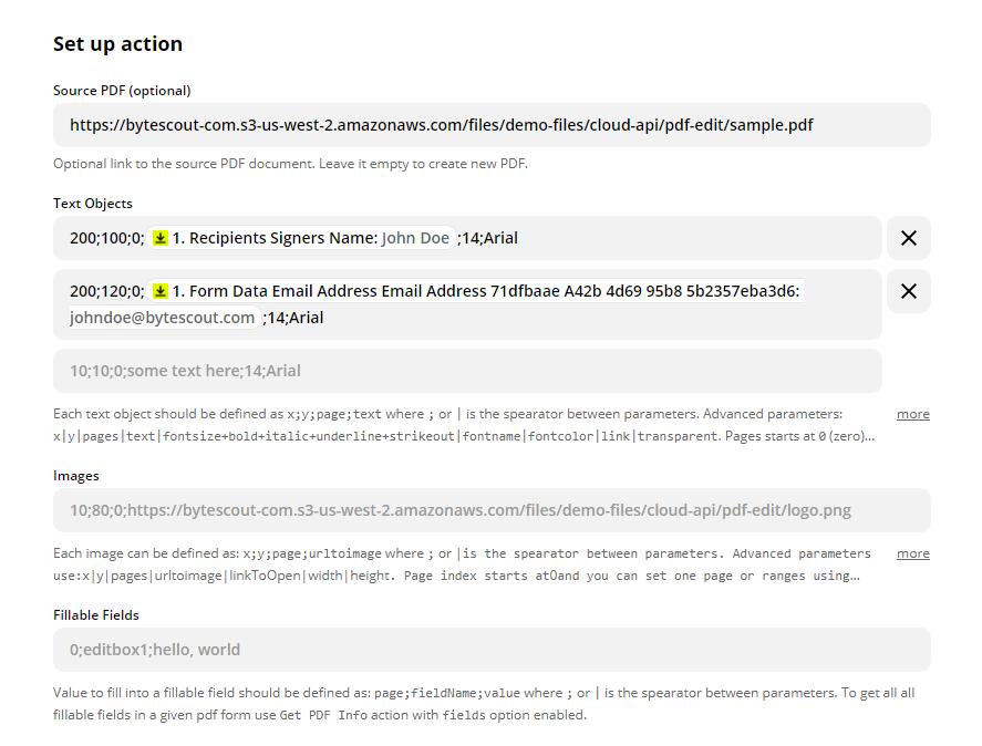 Configure PDF.co PDF Filler Action Event