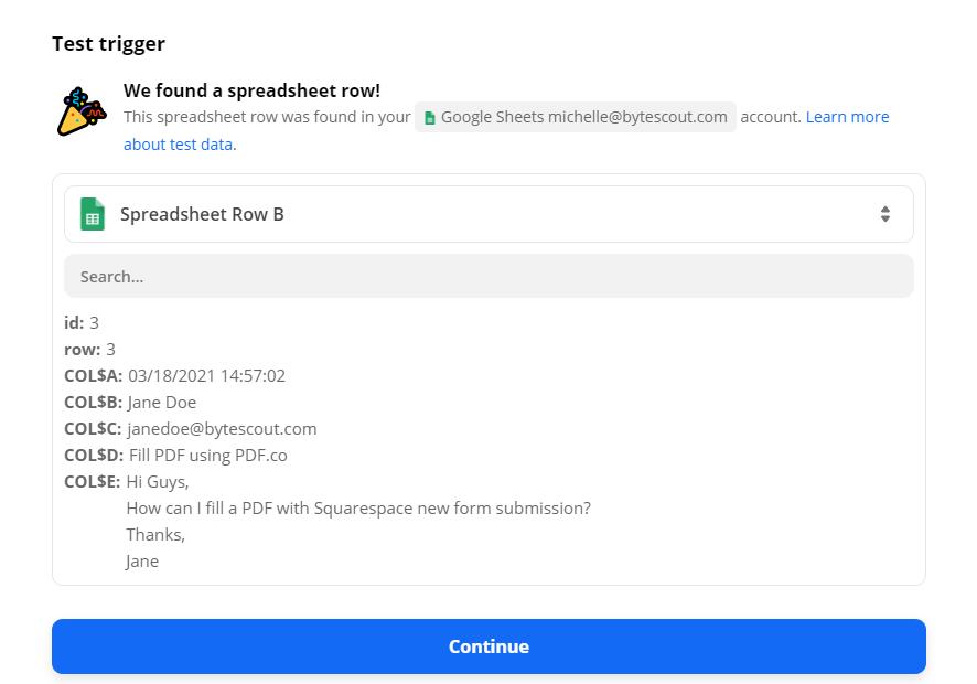 Google Sheet Trigger Test Successful