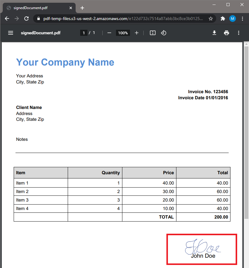 PDF Output With Affixed Name And Signature
