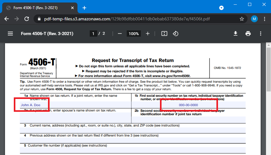 Sample Filled Out US Form 4506-T