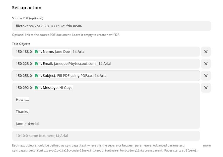 Configure PDF Filler With Google Sheet Data