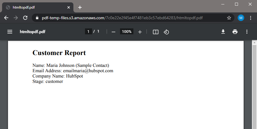 Generated PDF Output With HubSpot Data