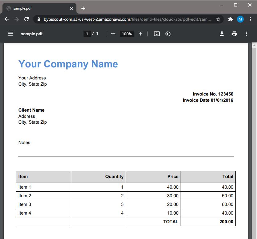 PDF Invoice Source File