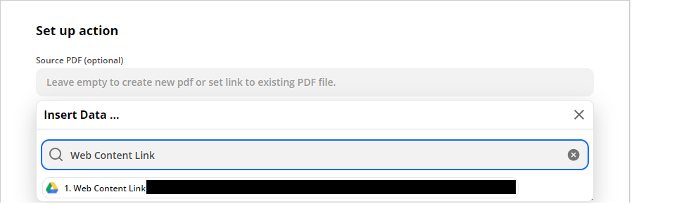 Choosing Web Content Link as the Source PDF
