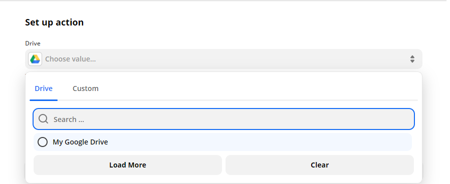 Choosing My Google Drive as the drive to be used