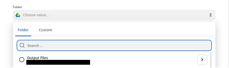 Choosing the desired folder where the files will be uploaded