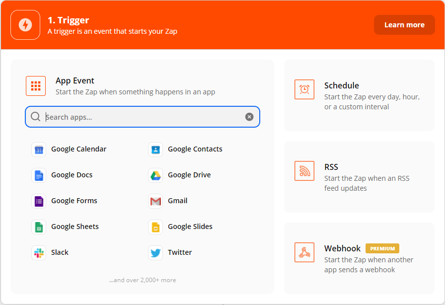 Choosing the Trigger App Event. In my case I'm using Google drive for my trigger app.