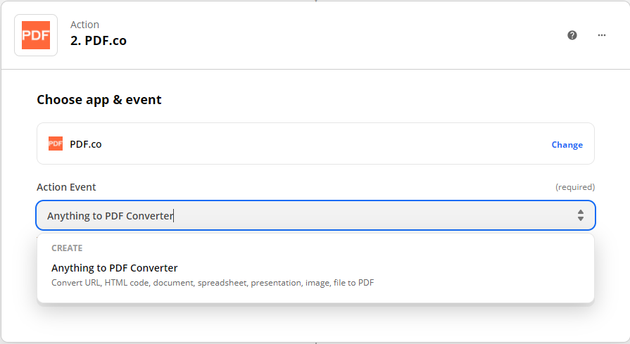 Choosing Anything to PDF Converter as the Action Event