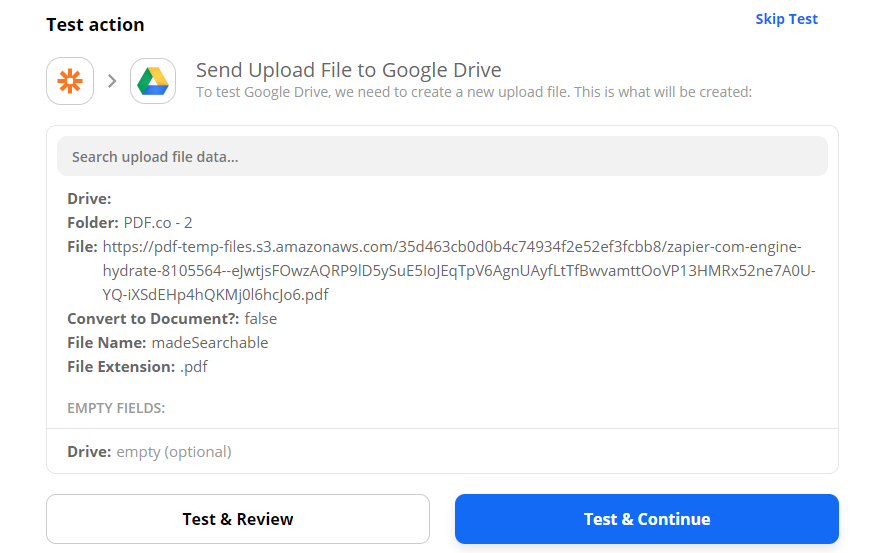 Send Upload File To Google Drive