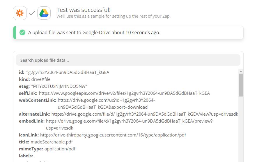 Google Drive Upload File Confirmation