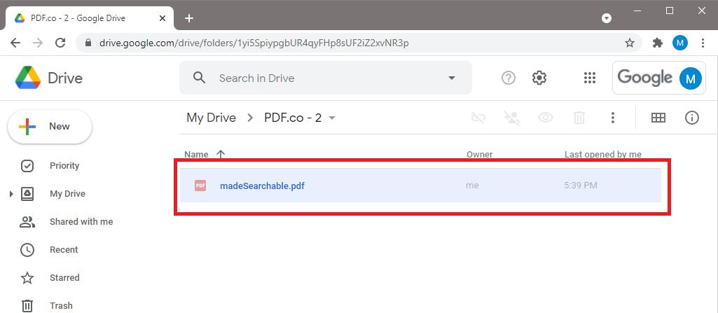 Searchable PDF File Stored In Google Drive Folder
