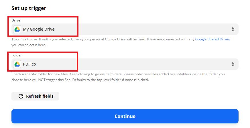 Configure Google Drive's Trigger Event
