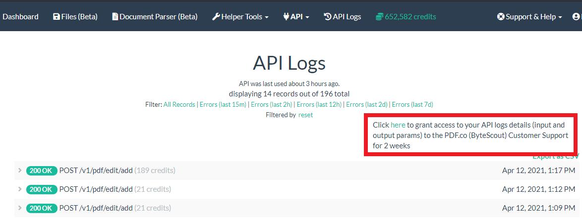 PDF.co API Log Grant Access To PDF.co Support