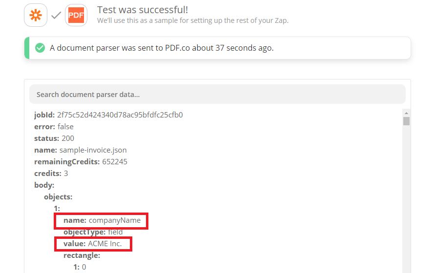 PDF.co Document Parser Parsed Invoice Result