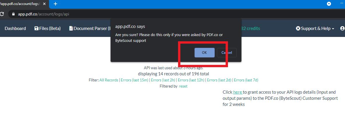 PDF.co API Log Access Confirmation