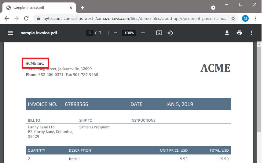 Sample Invoice Source File
