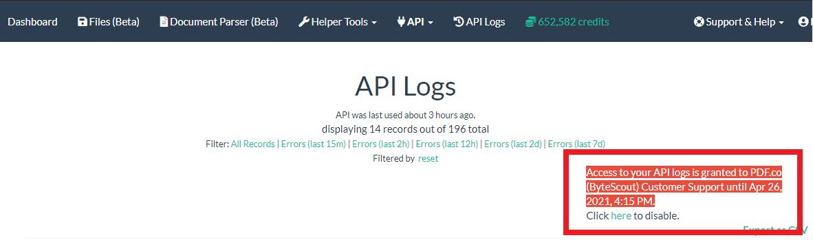PDF.co API Log Access Status And Revoke Access Link