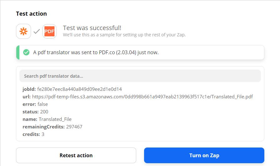 Testing successful