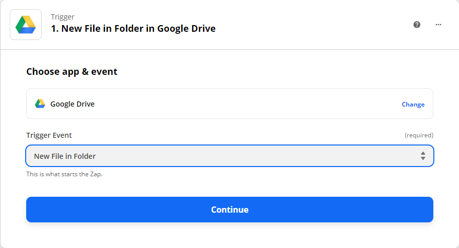 Choosing new file in folder as the trigger event