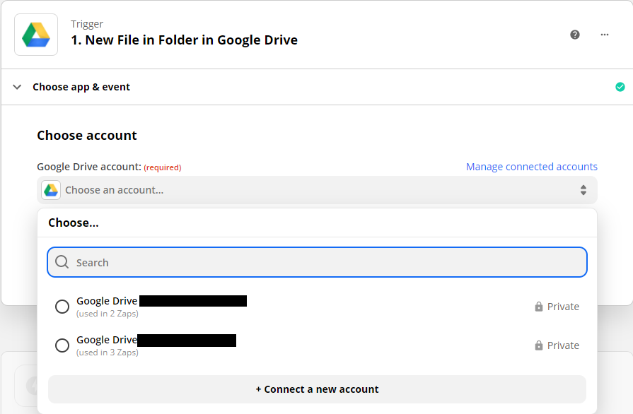 Choosing a google drive account to use